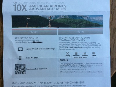 aa citi aadvantage 10X 2X miles apple pay