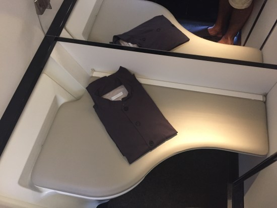 flight review cathay pacific first class review flight hkg lax krug bathroom