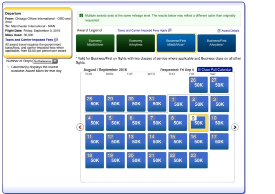 award chart american airlines