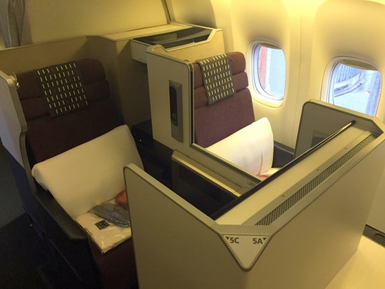 japan airlines first class jal jl first class review flight champagne salon seat bed BUSINESS CLASS