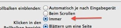 Scrollbalken in OS X Lion einblenden – Tutorial