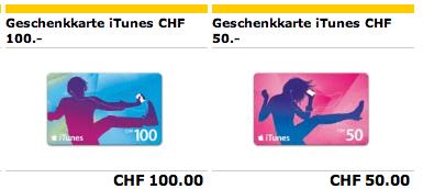 Schweiz – iTunes Karten bei der Post
