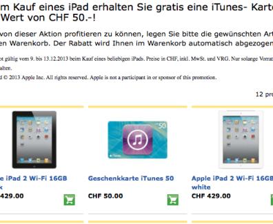 Schweiz – Kostenlose iTunes Karte beim iPad kauf
