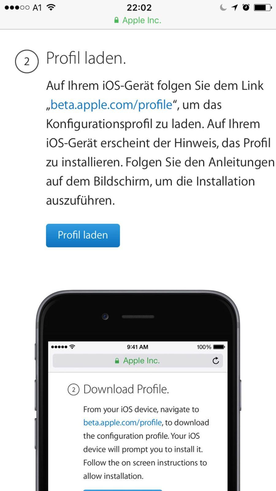 Installation der iOS Beta - die Installation des Profils