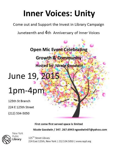 Juneteenth Open Mic in Harlem June 19th!