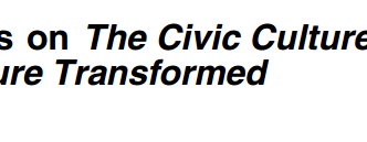 Reflections on The Civic Culture and The Civic Culture Transformed by Sidney Verba