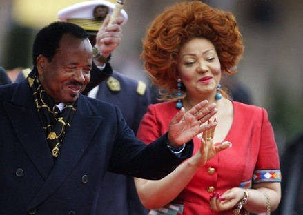 Cameroon's President Biya and Cameroon's First Lady arrive at the opening ceremony of the Francophone Summit in Montreux