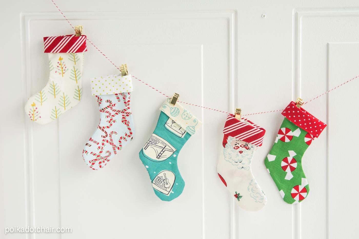 Happy holidays mini christmas stocking garland