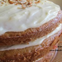 banana almond yogurt cake with sweet cream cheese frosting