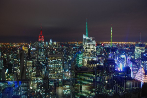 View of New York City at Night from the Top of the Rock Observatory