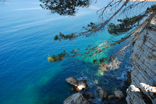 View of the water from Sveti Stefan