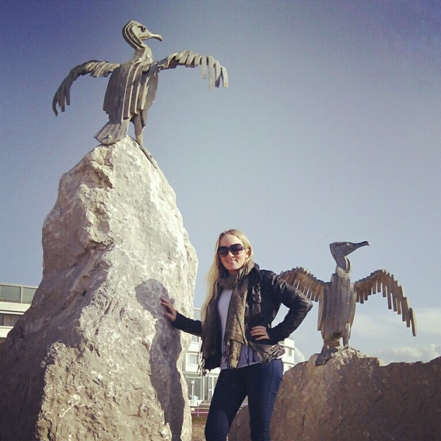 Posing with the bird sculptures on the pier in Morecambe