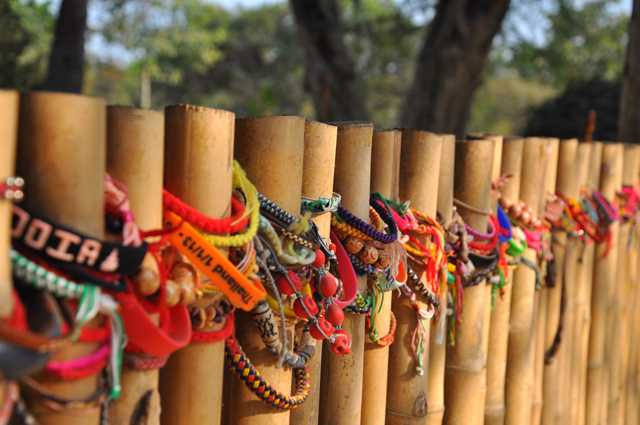 Bracelets left as a mark of respect at the Killing Fields in Cambodia