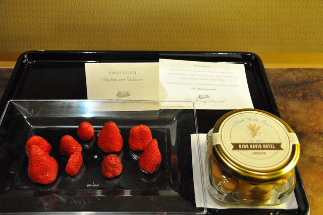 King David Hotel Welcome goodies in Jerusalem