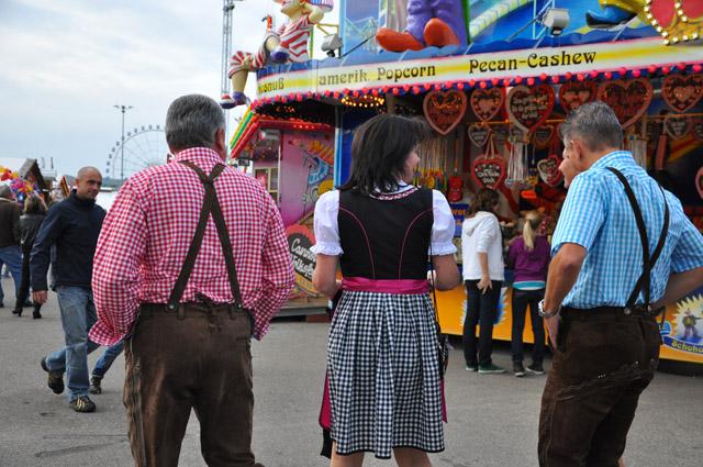 Germans wearing Lederhosen and Dirndl