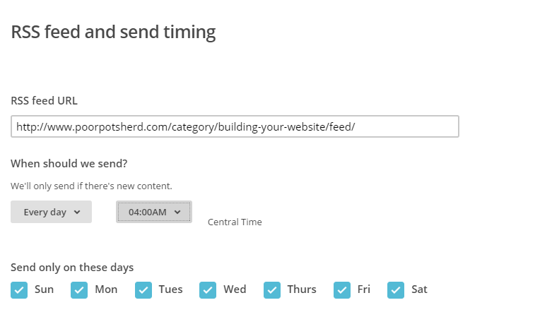 Mail Chimp campaign RSS URL and timing selections
