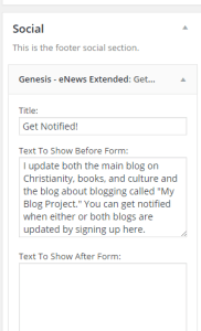 Genesis eNews Plugin Widget-Title area