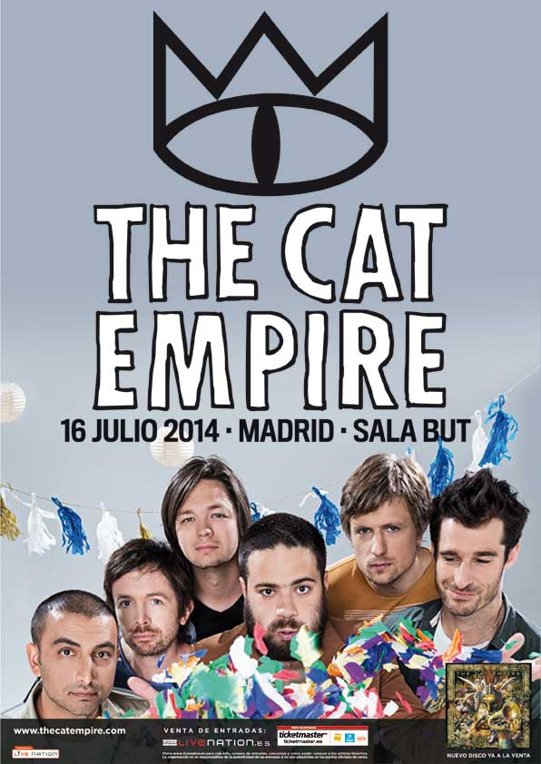 Cartel concierto The Cat Empire en Madrid. Julio 2014