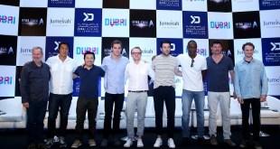 DUBAI, UNITED ARAB EMIRATES - SEPTEMBER 30: L-R: Executive Producer Jeffrey Chernov, Writer Douglas Jung, Director and Producer Justin Lin, Chris Pine, Writer and Actor Simon Pegg, Zachary Quinto, Idris Elba, Karl Urban, Anton Yelchin attends a press conference promoting 'Star Trek Beyond' at Burj Al Arab on September 30, 2015 in Dubai, United Arab Emirates.  (Photo by Francois Nel/Getty Images for Paramount Pictures)