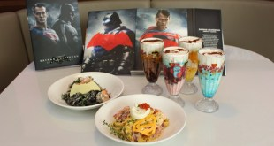 SingPost's Batman v Superman - Dawn of Justice MyStamp Collection and food items from DC COMICS SUPER HEROES CAFE's themed menu