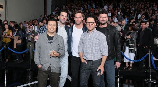 """Justin Lin, Zachary Quinto, Chris Pine, JJ Abrams, and Karl Urban attend the unveiling of the newly named """"Leonard Nimoy Way"""" during the Star Trek Beyond Fan Event at Paramount Pictures Studios in on May 20, 2016 in Hollywood, California.  (Photo: Alex J. Berliner/ABImages)"""