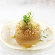 Crema di patata De.Co di Sant'Eufemia , cous cous e tagliatelline di calamaro e sentore di sigaro Chef trovato