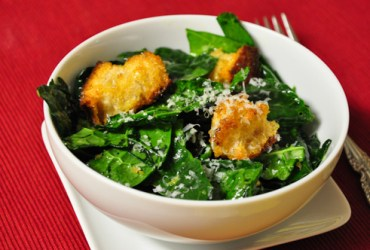 Pork Cracklins | Kale Caesar Salad