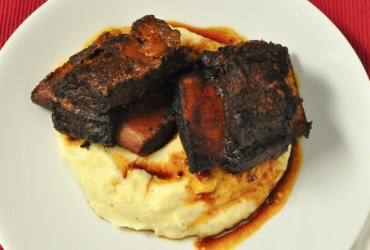 Pork Cracklins | Balsamic and Beer-Braised Short Ribs with Parsnip Purée