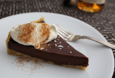 Pork Cracklins | Simple Chocolate Whiskey Tart with Whiskey Whipped Cream