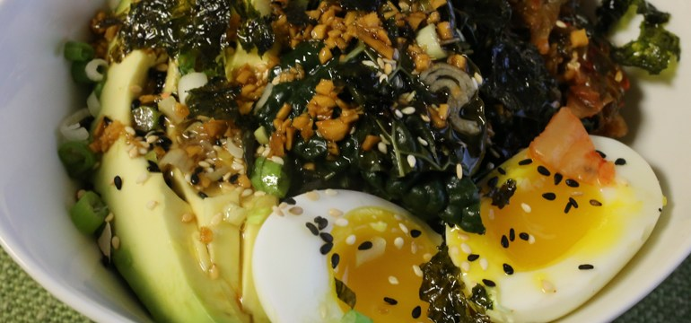 Sorghum and Kamut Bowl With Kale, Kimchi and Egg | Pork Cracklins