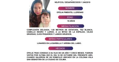 Solicita su apoyo y colaboración para difundir los datos de Ofelia Pimentel Llerenas