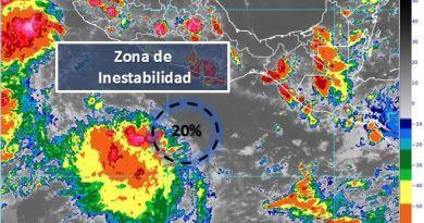 Zona de baja presión ahora con 20% de probabilidad para desarrollo ciclónico