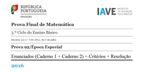 9Ano - Prova Final Matemática - Época Especial 2016