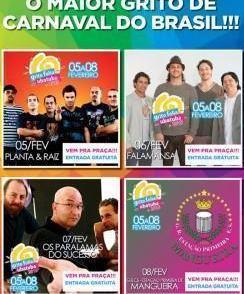Grito Folia Ubatuba terá shows e bateria da Mangueira