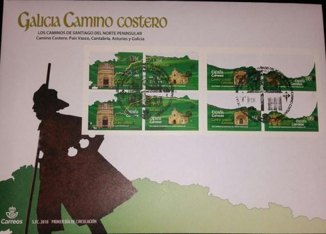 Sobre conmemorativo Galicia Camino costero.