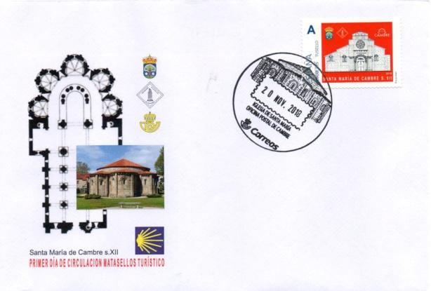 Sobre conmemorativo con sello personalizado anulado con el nuevo matasellos