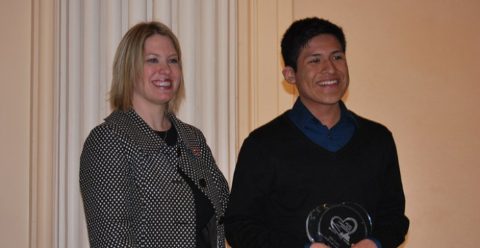 Theressa Davis Vice President of Communications, Comcast, Oregon & SW Washington presented Milo Lopez with the Nathan Sibell Youth Leadership Award