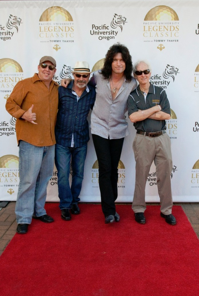 Friends included second from the left, original Chicago drummer Danny Seraphine, Tommy Thayer and legendary guitarist Robby Krieger from the Doors