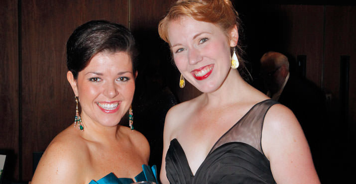 Featured soloists Jennifer Forni and Resident Artist Lindsay Ohse enjoying the Notte Grande Gala after Portland Opera's BIG NIGHT Concert