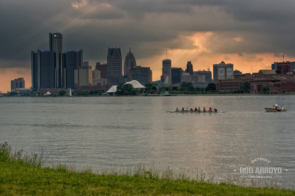 Belle Isle  Rowing - View of Downtown Detroit