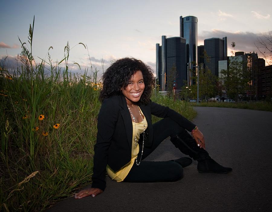 Senior Picture Detroit Riverfront - Groves Senior