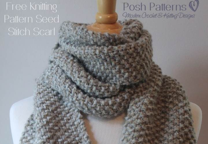 Free Knitting Patterns For Scarves Easy : Free Knitting Pattern Seed Stitch Scarf