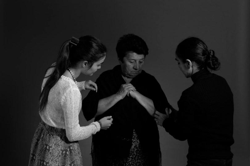 Shirin Neshat with Hagigat Dadashova and an assistant from YARAT. Photograph by David Jimenez
