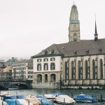 Right river bank of Zurich, overlooking Grossmünster