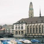 Right river bank of Zurich, overlooking Grossmünster