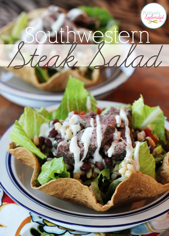 Easy Southwestern Steak Salad at Positively Splendid can be made from start to finish in less than 30 minutes! This looks so yummy!