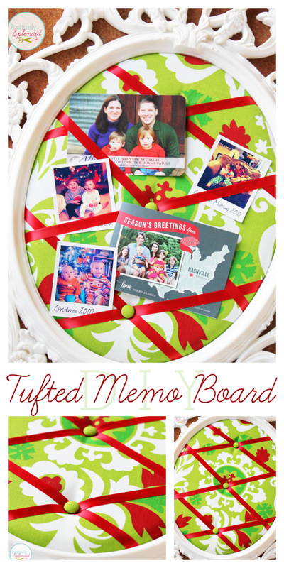 This DIY tufted memo board at Positively Splendid is gorgeous, and it can be made with absolutely any frame! This would be perfect for displaying holiday cards and photos.