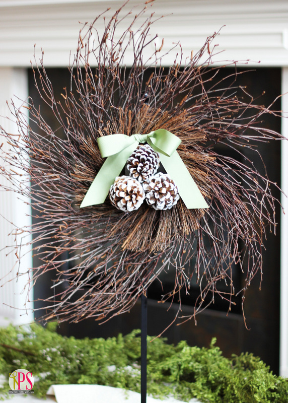 This natural twig and pine cone wreath is so pretty and simple to make!
