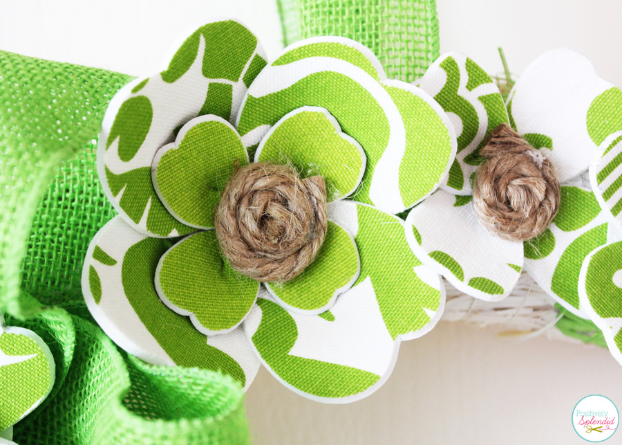 Darling St. Patrick's Day wreath at Positively Splendid with fabric and foam shamrocks.