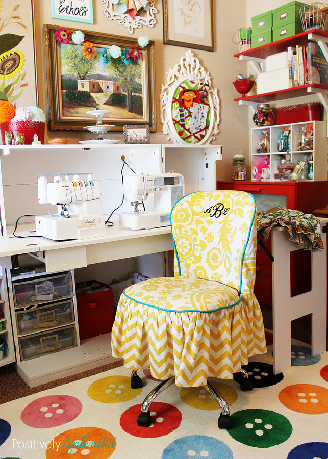 bright and eclectic sewing and craft room